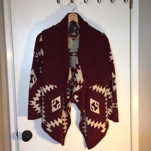 Red tribal print cardigan